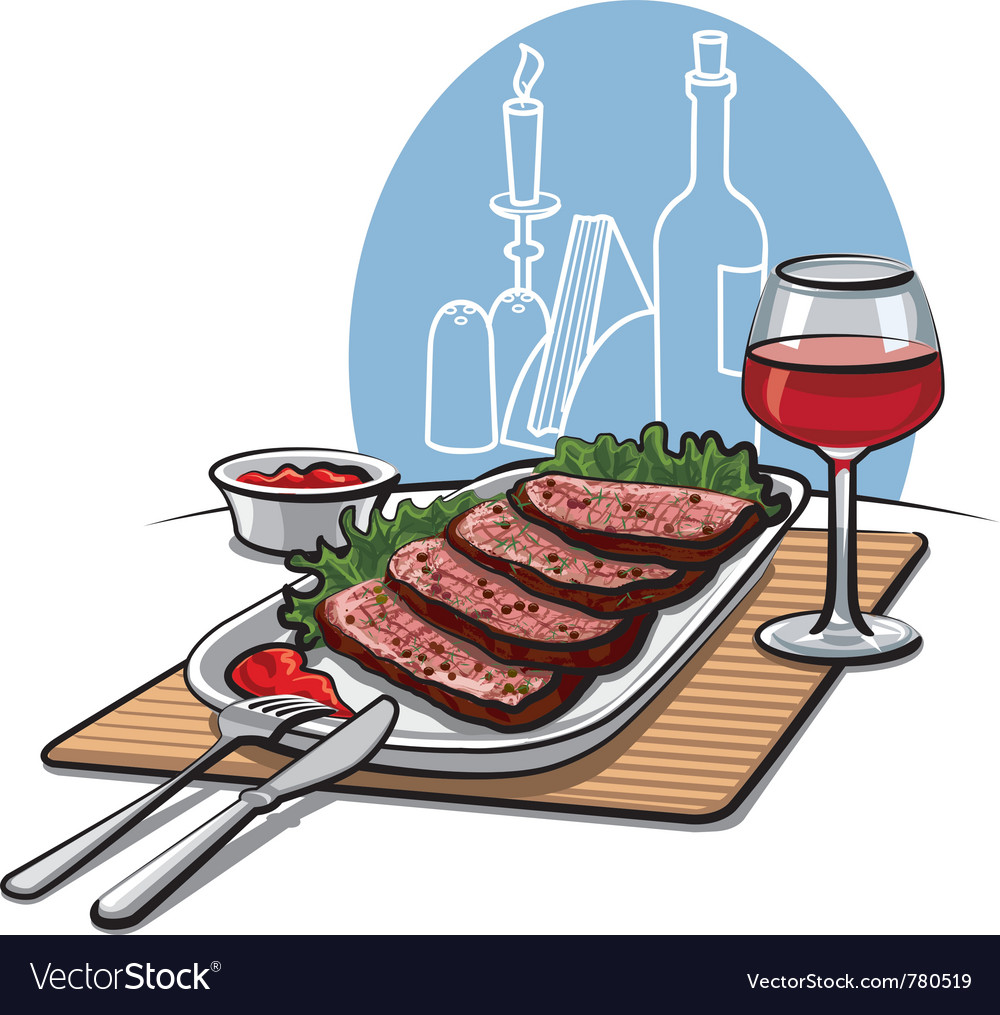 Roast beef and wine vector | Price: 3 Credit (USD $3)