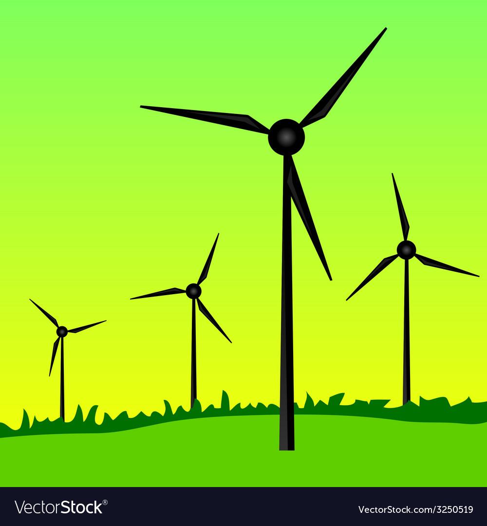 Windmills on green grass vector | Price: 1 Credit (USD $1)