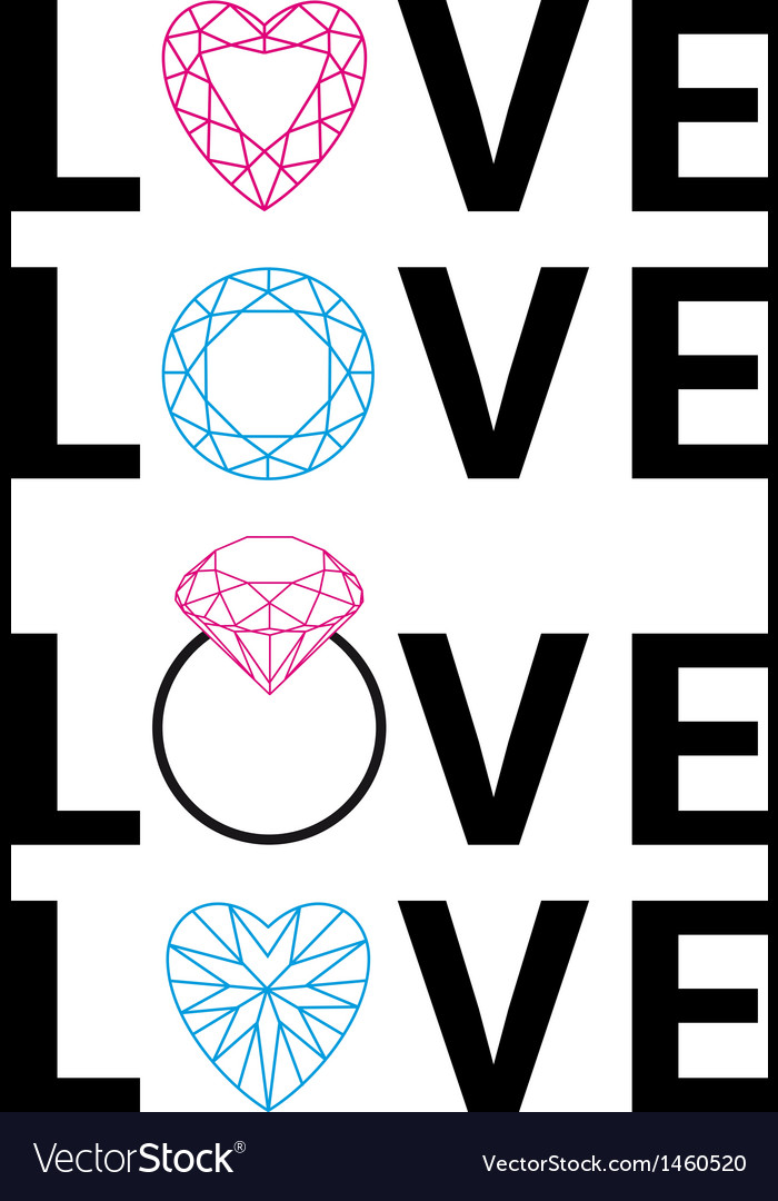 Diamond love word art vector | Price: 1 Credit (USD $1)