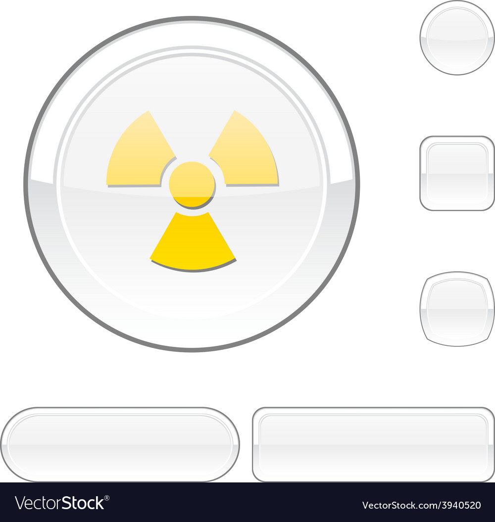 Radiation white button vector | Price: 1 Credit (USD $1)