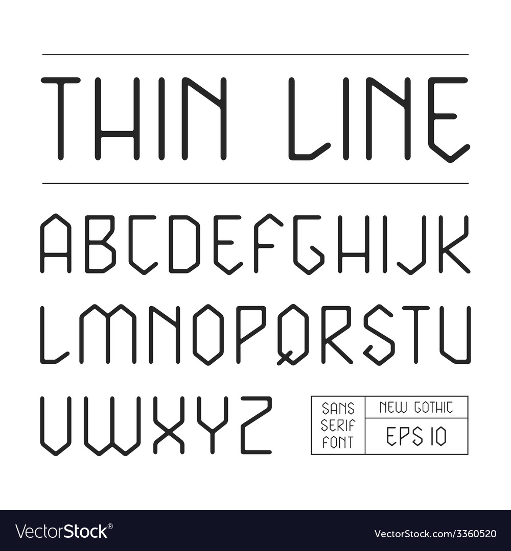 Sans serif lineales geometric font vector | Price: 1 Credit (USD $1)