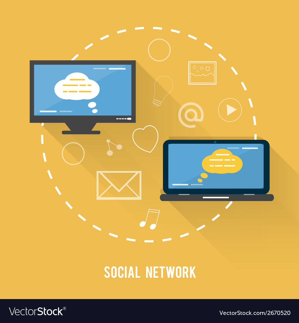 Social network concept in flat design vector | Price: 1 Credit (USD $1)