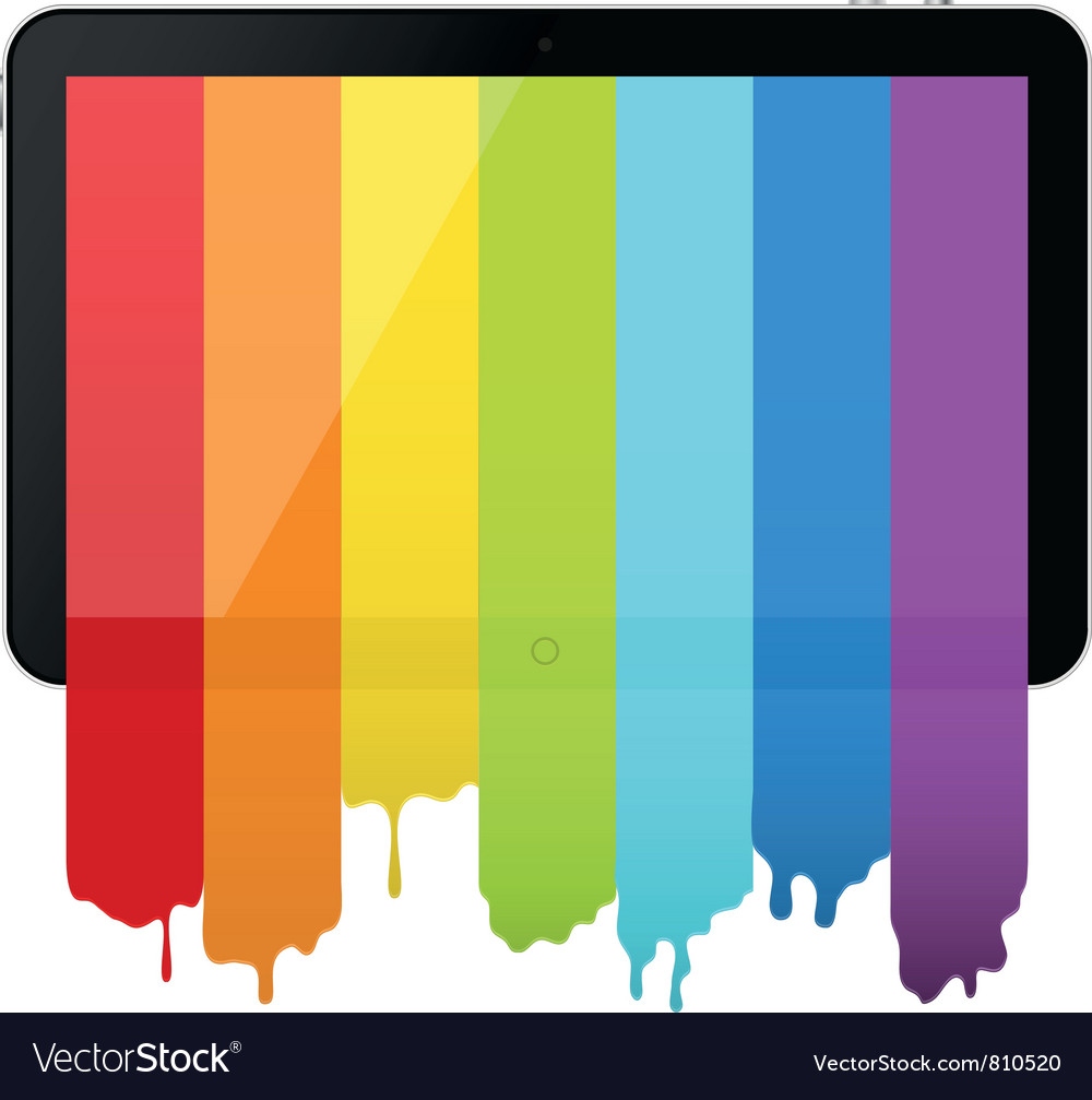 Tablet pc with rainbow paint vector | Price: 1 Credit (USD $1)