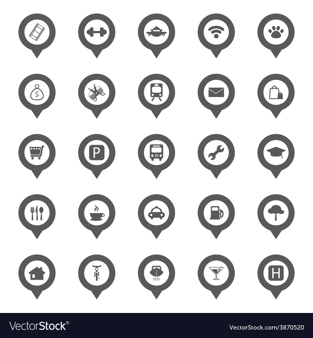 Town icon map pins vector | Price: 1 Credit (USD $1)
