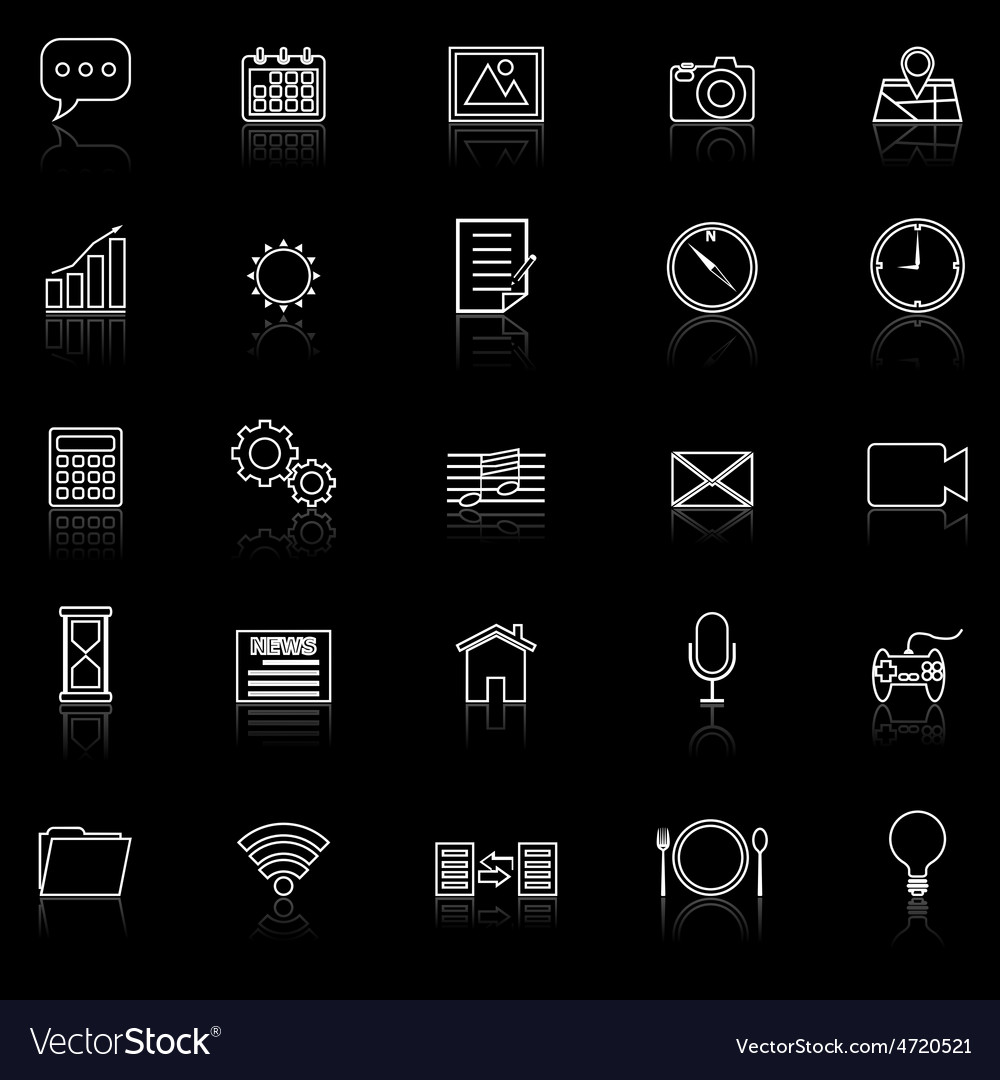 Application line icons with reflect on black vector | Price: 1 Credit (USD $1)