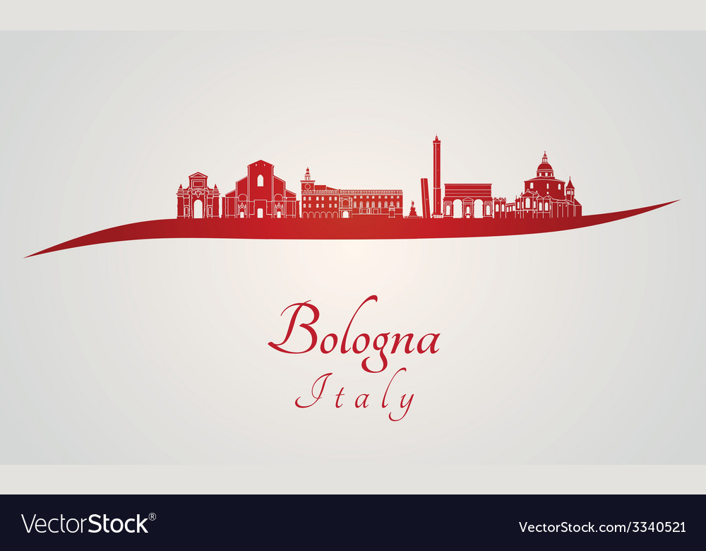 Bologna skyline in red vector | Price: 1 Credit (USD $1)