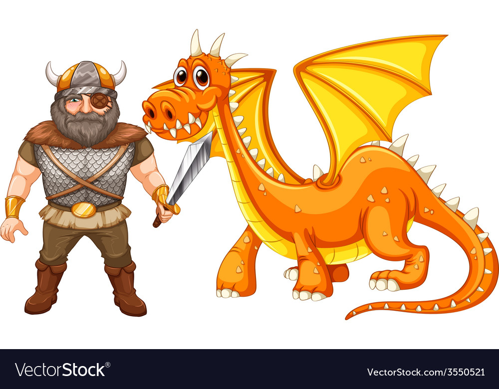 Dragon and viking vector | Price: 3 Credit (USD $3)