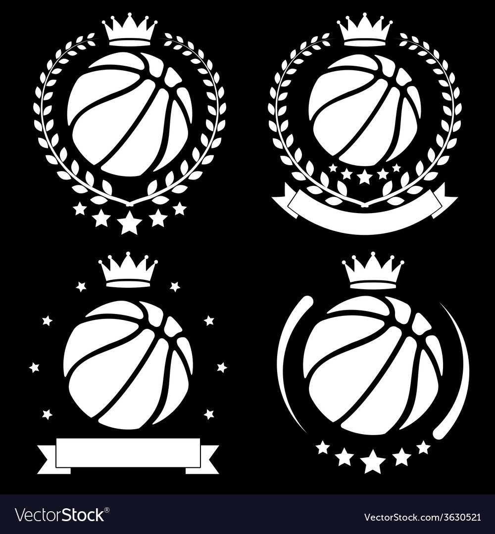 Set of vintage basketball club badge and label vector | Price: 1 Credit (USD $1)