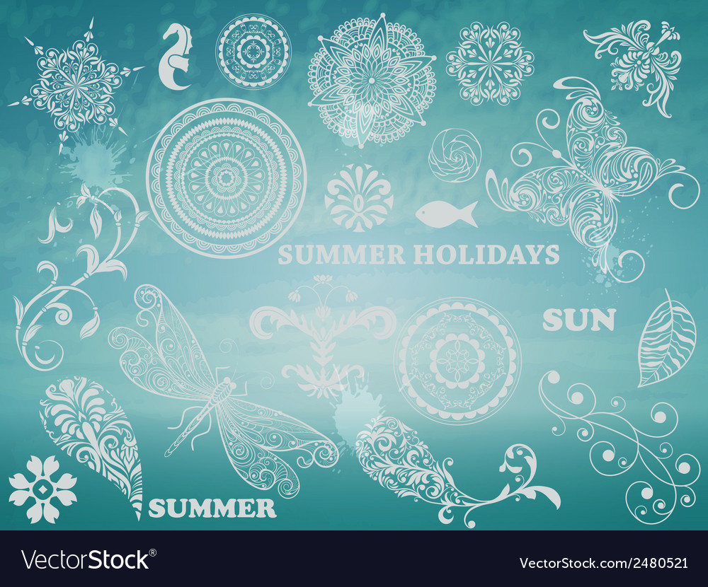 Summer design elements vector | Price: 1 Credit (USD $1)
