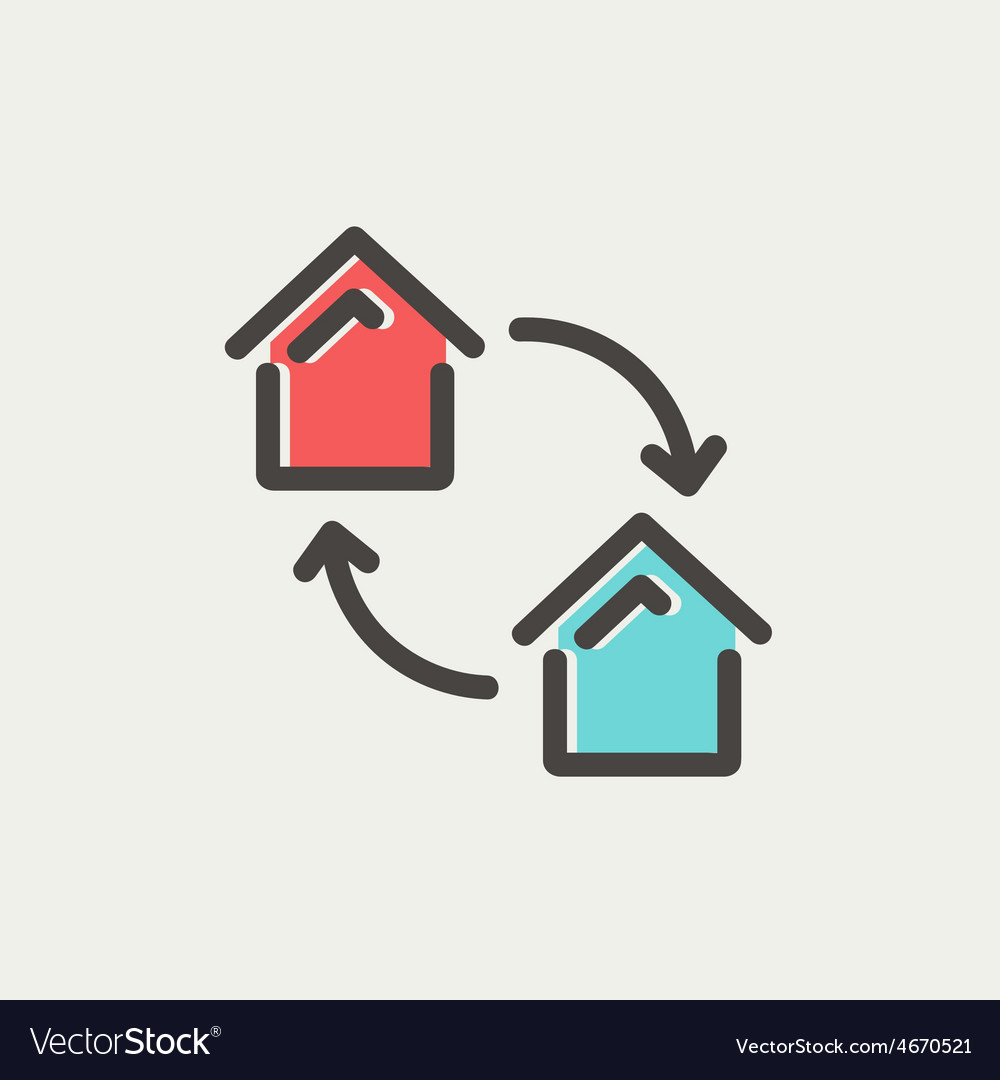 Two little houses thin line icon vector | Price: 1 Credit (USD $1)