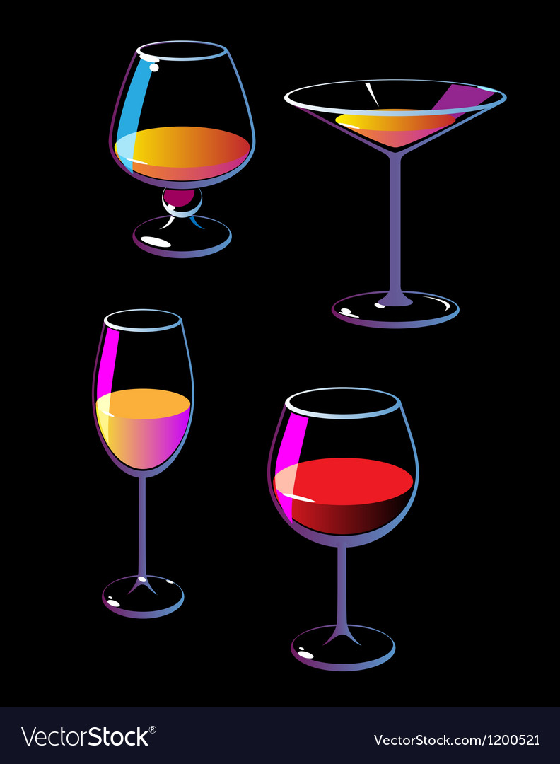 Wine champagne martini cognac vector | Price: 1 Credit (USD $1)