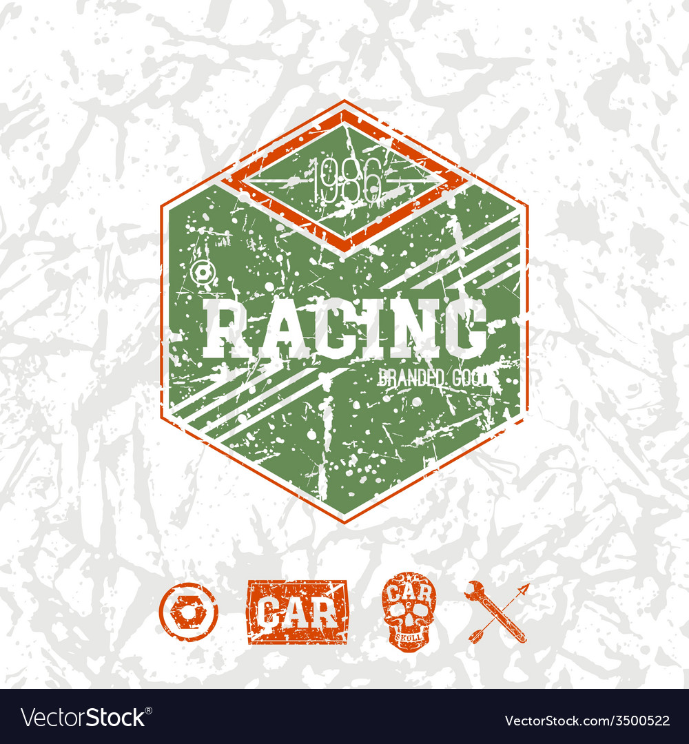 Car racing hexagonal emblem vector | Price: 1 Credit (USD $1)