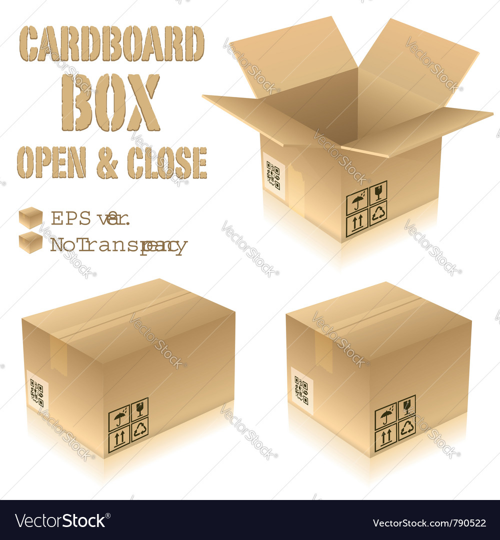 Cardboard boxes with icons vector | Price: 1 Credit (USD $1)