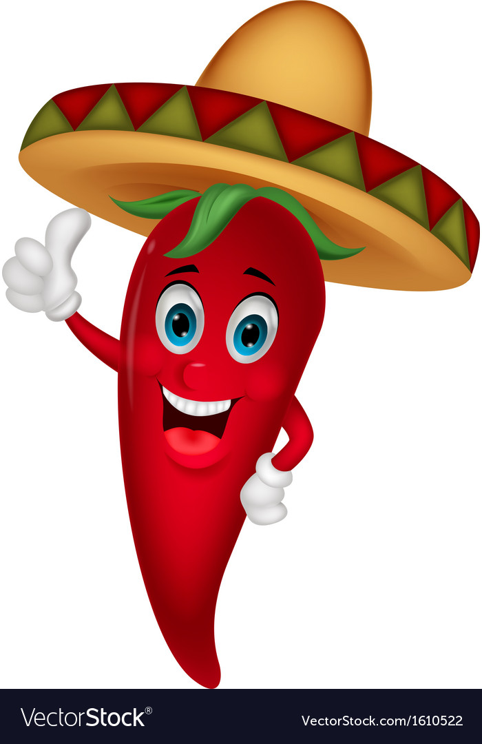 Chili cartoon with sombrero hat vector | Price: 1 Credit (USD $1)