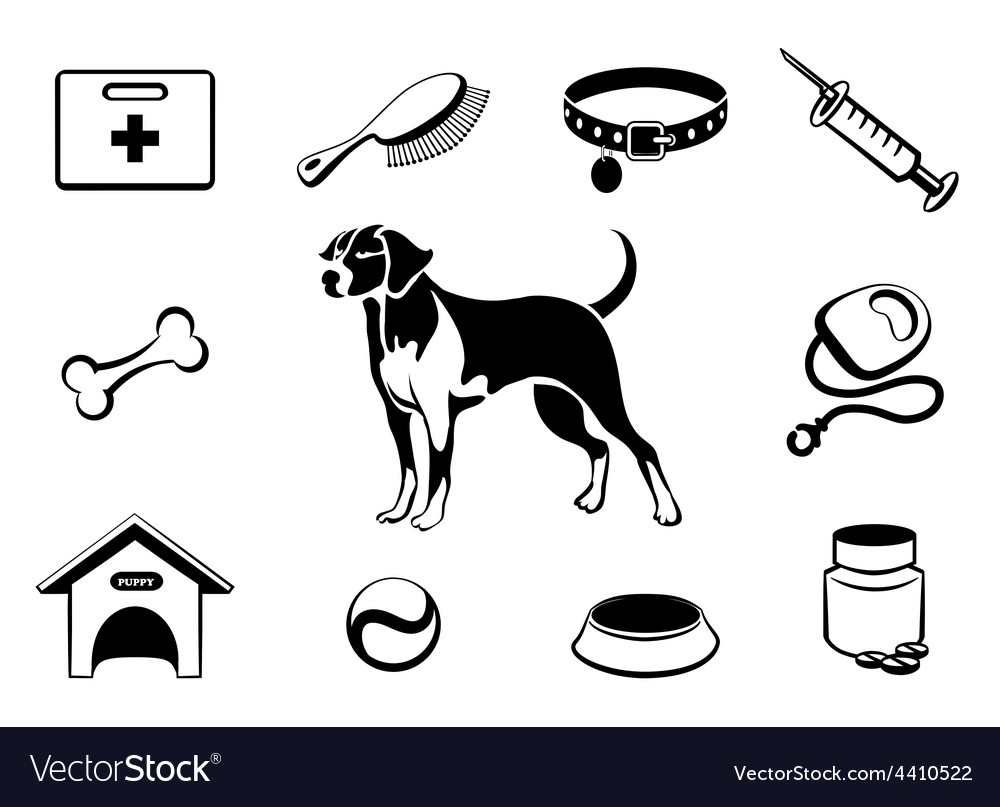 Dog vet clinic icons vector | Price: 1 Credit (USD $1)