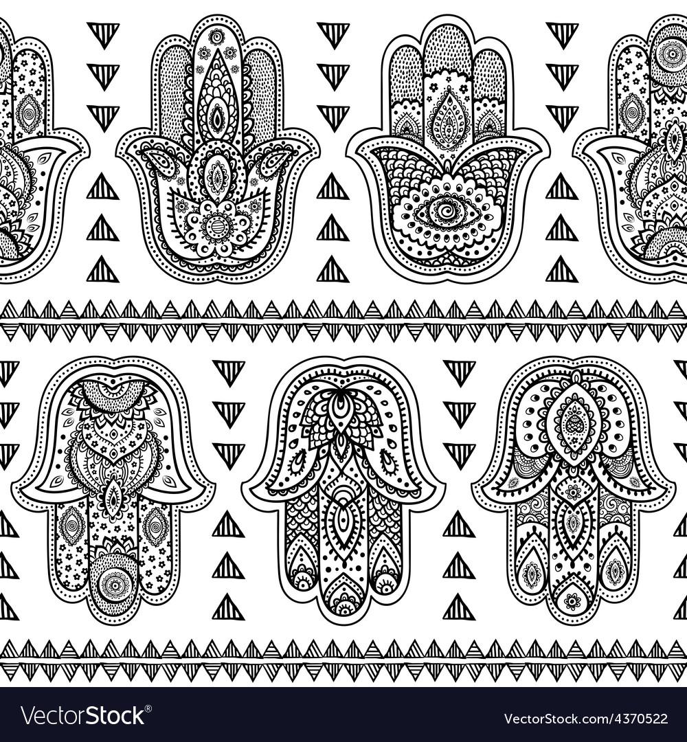 Indian hand drawn hamsa seamless pattern vector