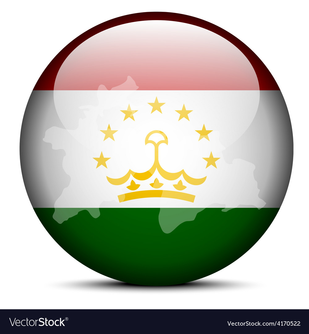 Map on flag button of republic tajikistan vector | Price: 1 Credit (USD $1)