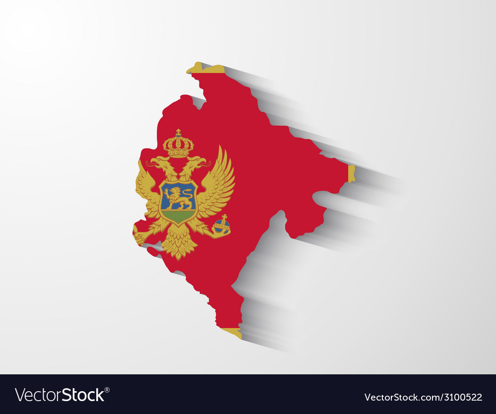 Montenegro map with shadow effect vector | Price: 1 Credit (USD $1)