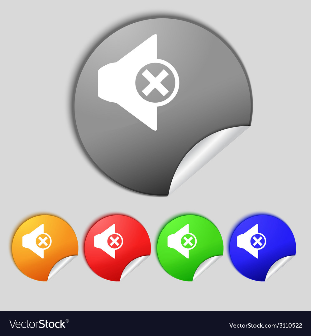 Mute speaker sign icon sound symbol set of vector | Price: 1 Credit (USD $1)