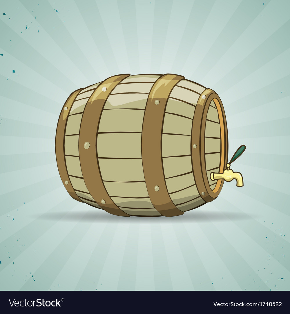 Old wooden barrel filled with natural wine or beer vector | Price: 1 Credit (USD $1)