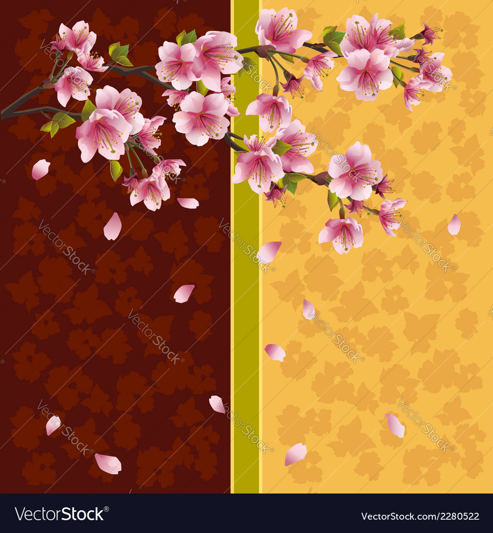 Oriental background sakura japanese cherry tree vector | Price: 1 Credit (USD $1)
