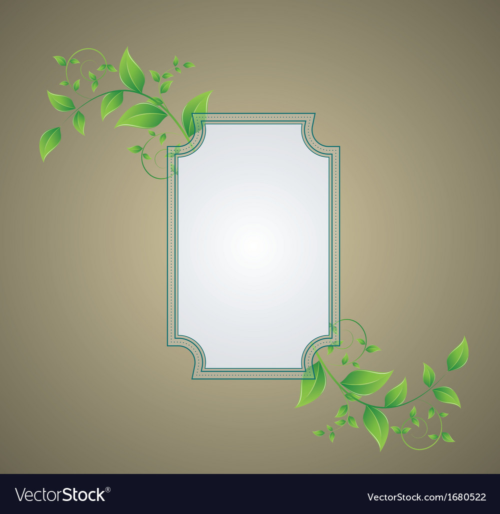 Retro background with a frame with green leaves vector | Price: 1 Credit (USD $1)