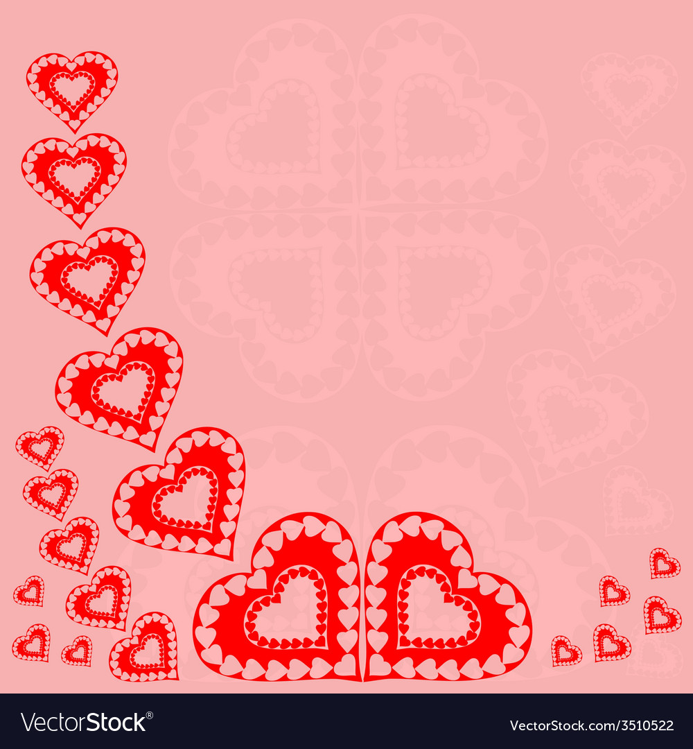 Valentines day red hearts red background vector | Price: 1 Credit (USD $1)