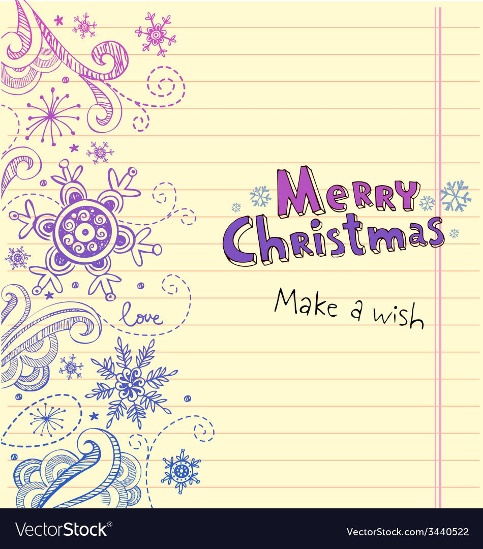 Winter doodles with snowflakes christmas card vector | Price: 1 Credit (USD $1)