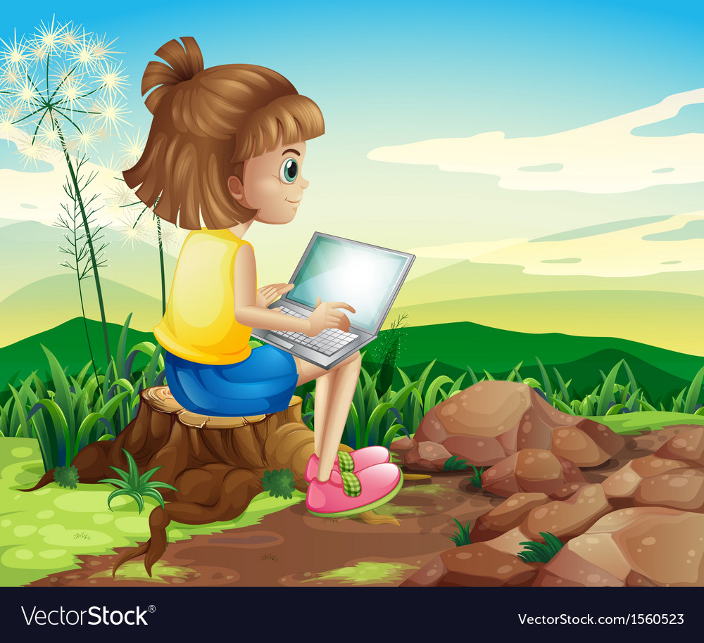 A girl surfing the net while sitting above a stump vector | Price: 3 Credit (USD $3)