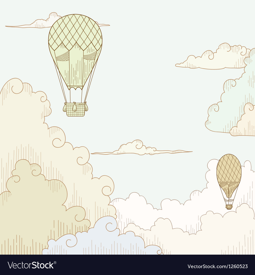 Abstract background with balloon and clouds vector | Price: 1 Credit (USD $1)