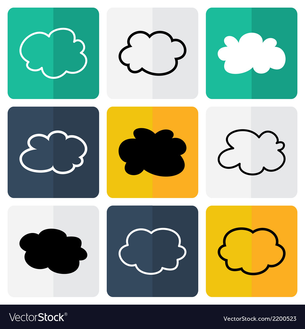 Black and white flat cloud icons vector | Price: 1 Credit (USD $1)