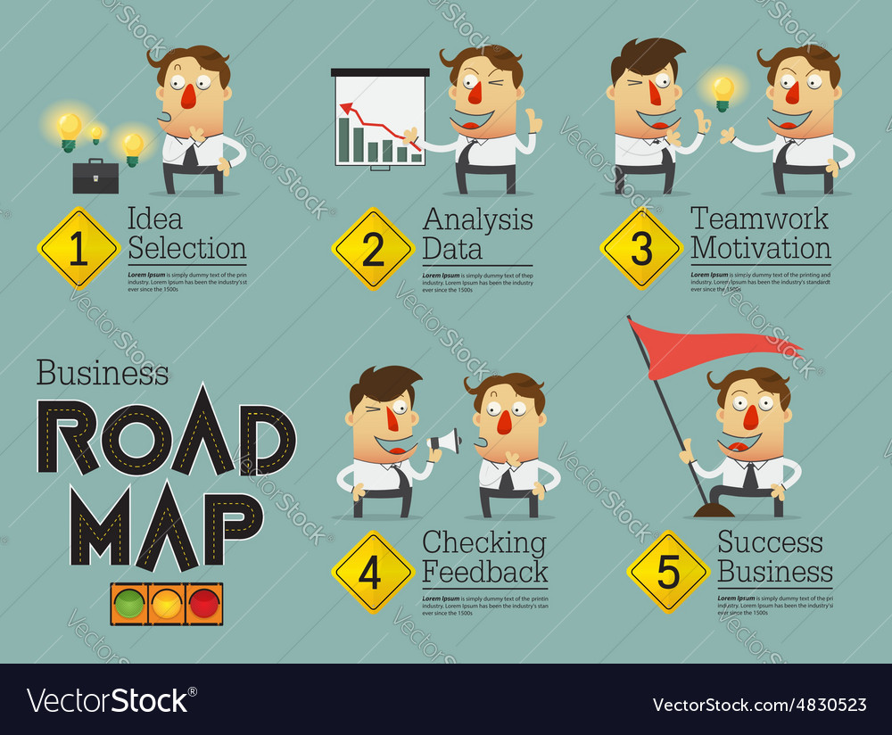 Business planning road map infographic vector