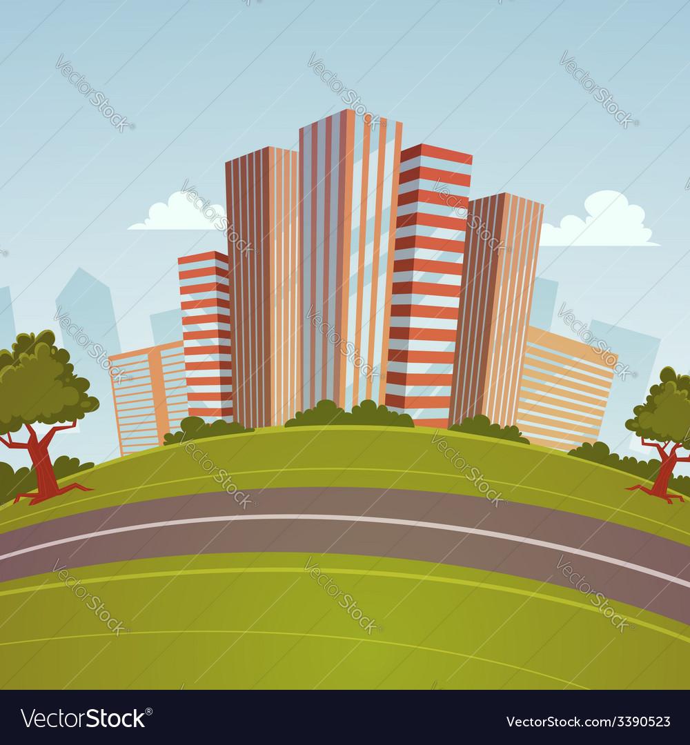 Cartoon cityscape vector | Price: 1 Credit (USD $1)