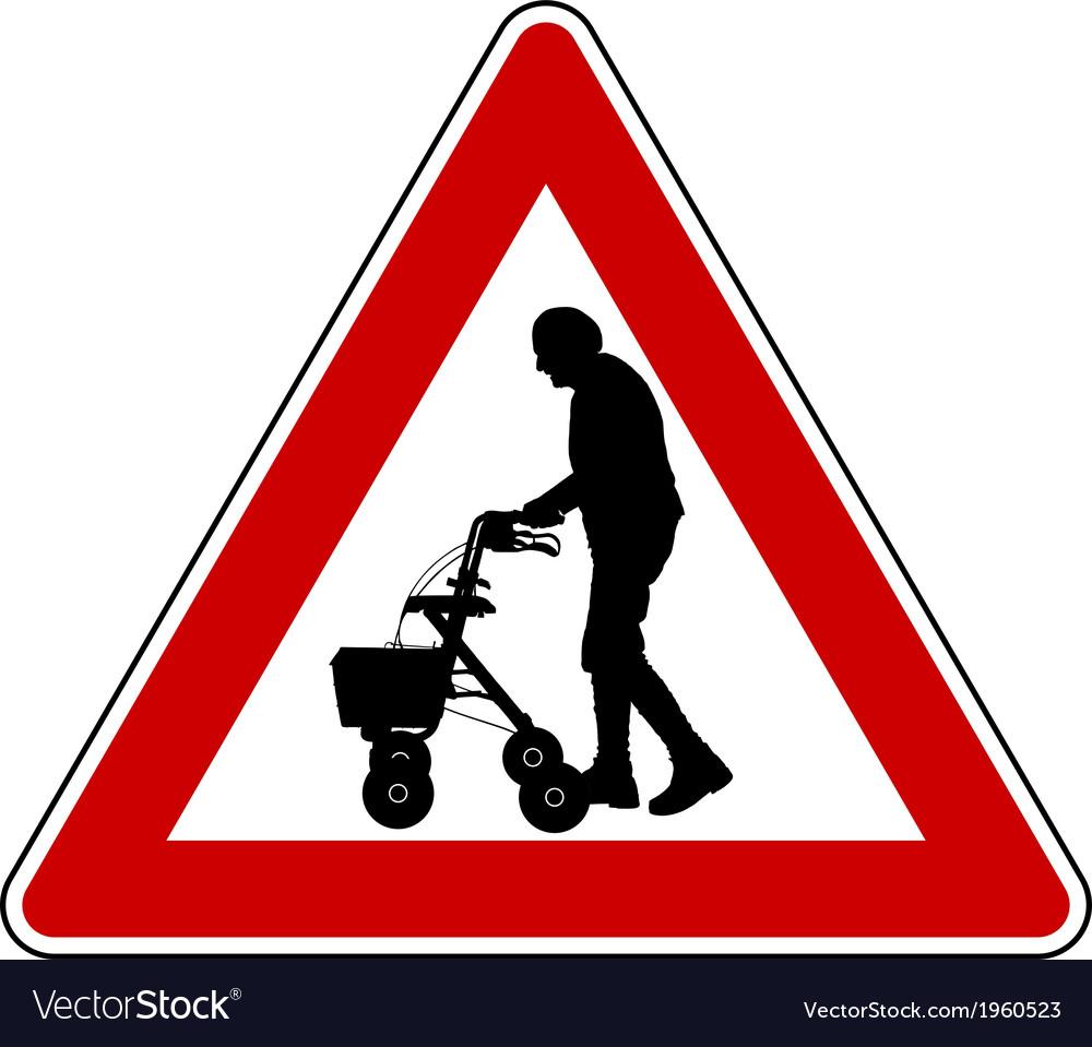 Caution elderly people vector   Price: 1 Credit (USD $1)