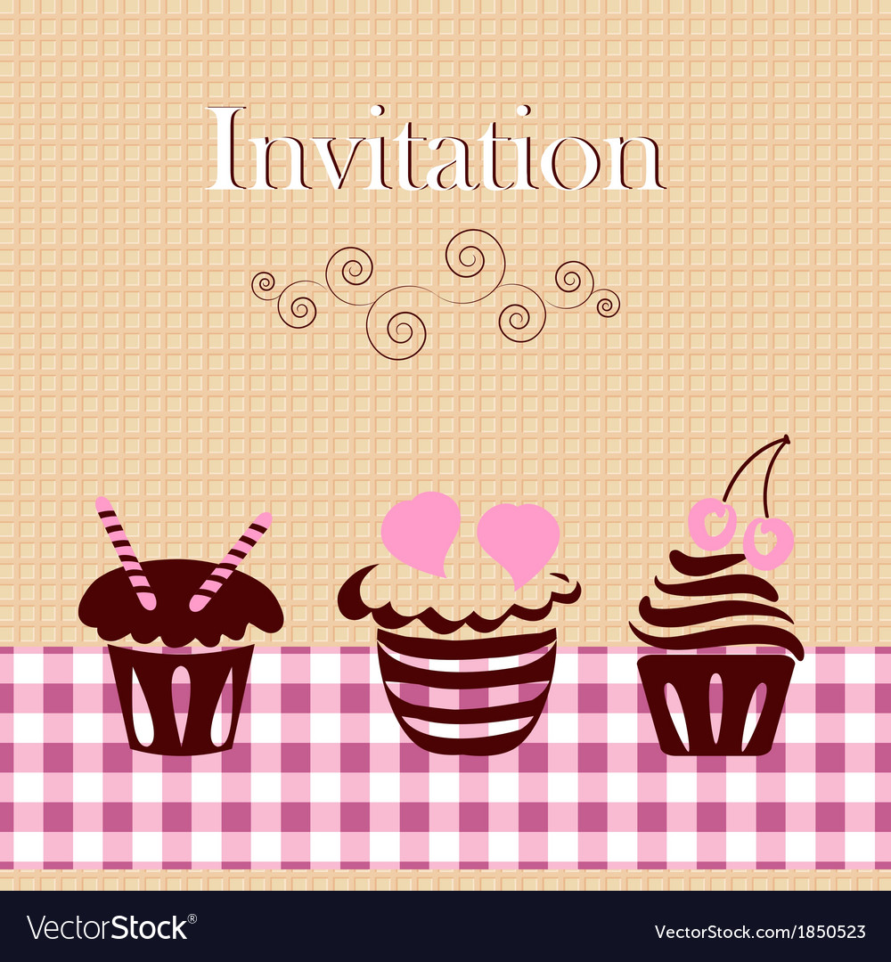 Invitation card with cakes vector | Price: 1 Credit (USD $1)