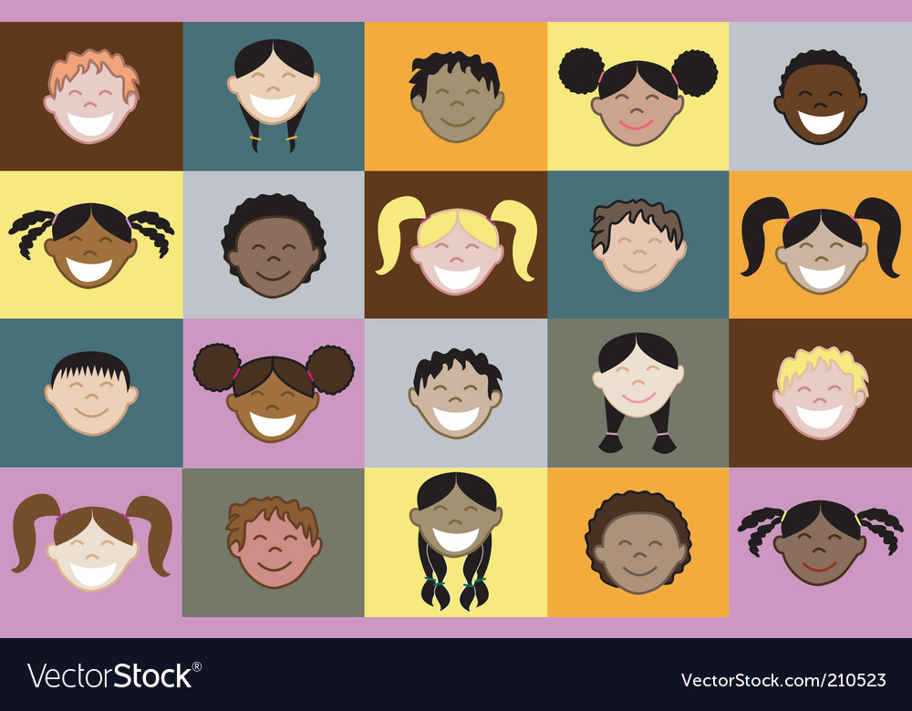 Kids faces vector | Price: 1 Credit (USD $1)