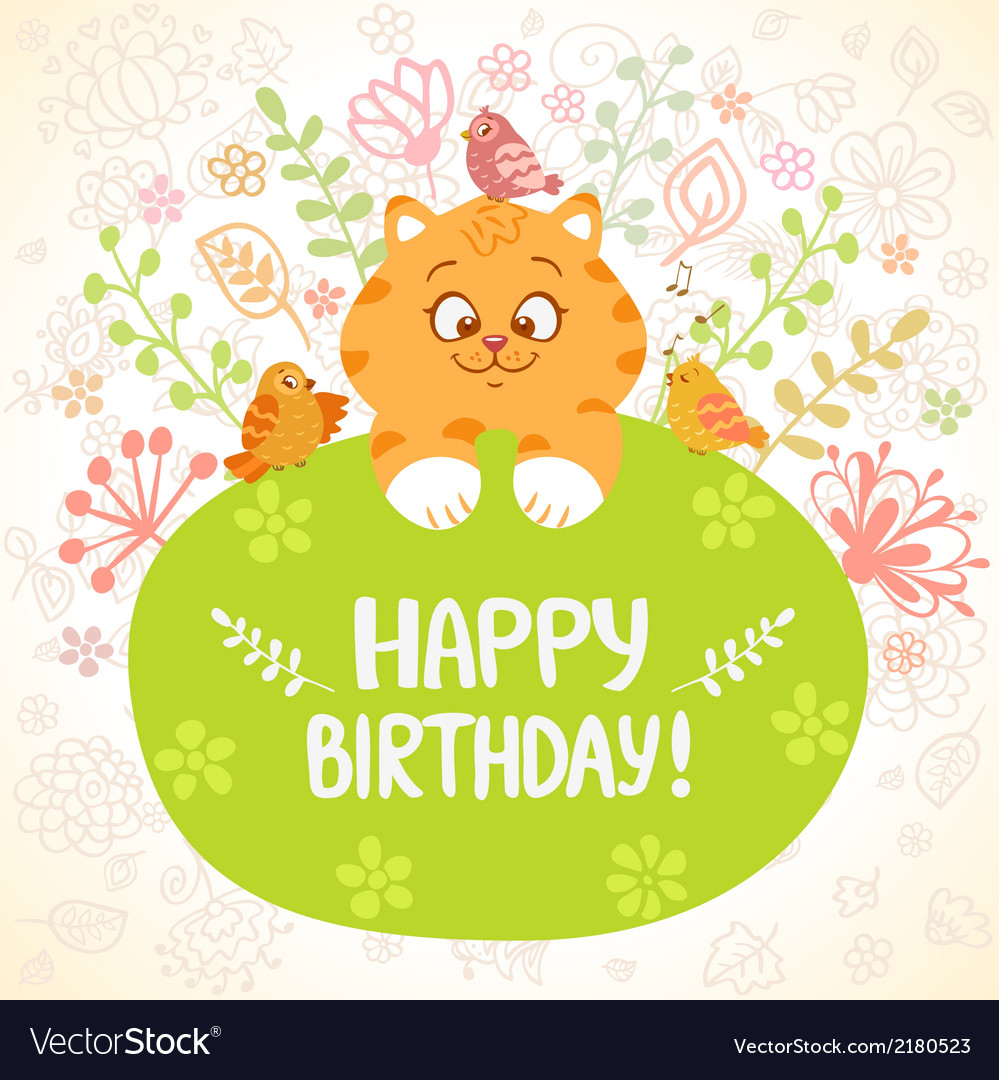 Kitten birthday vector | Price: 1 Credit (USD $1)
