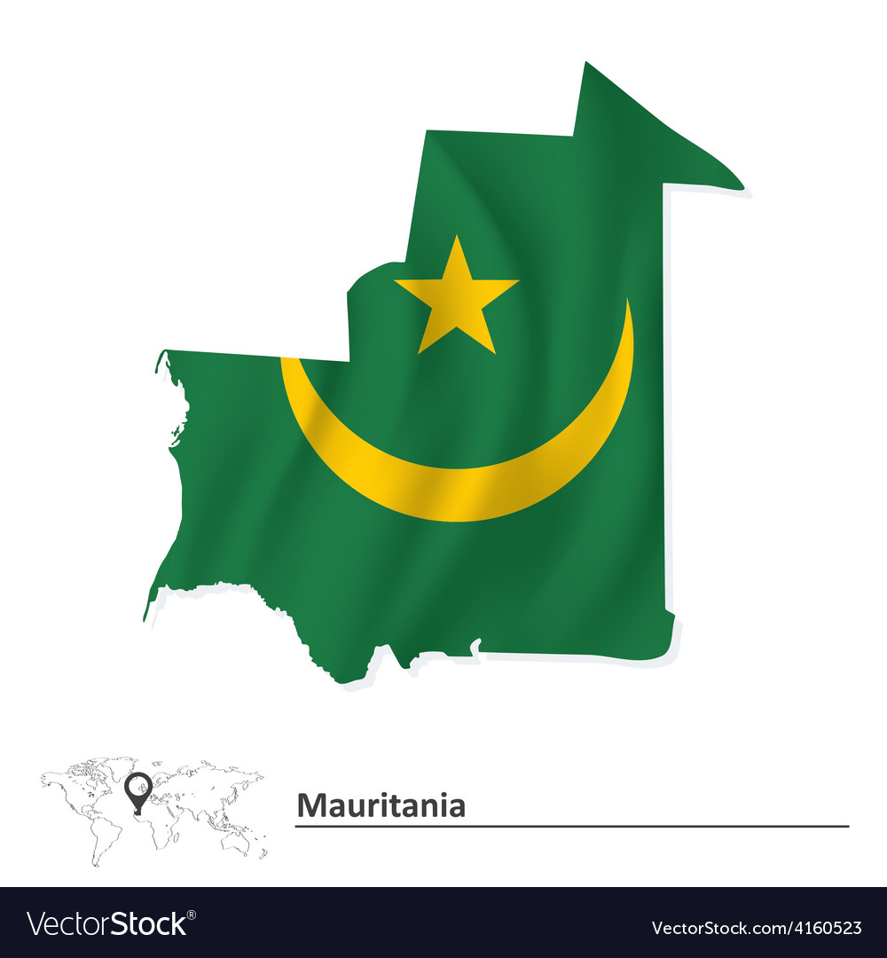 Map of mauritania with flag vector | Price: 1 Credit (USD $1)
