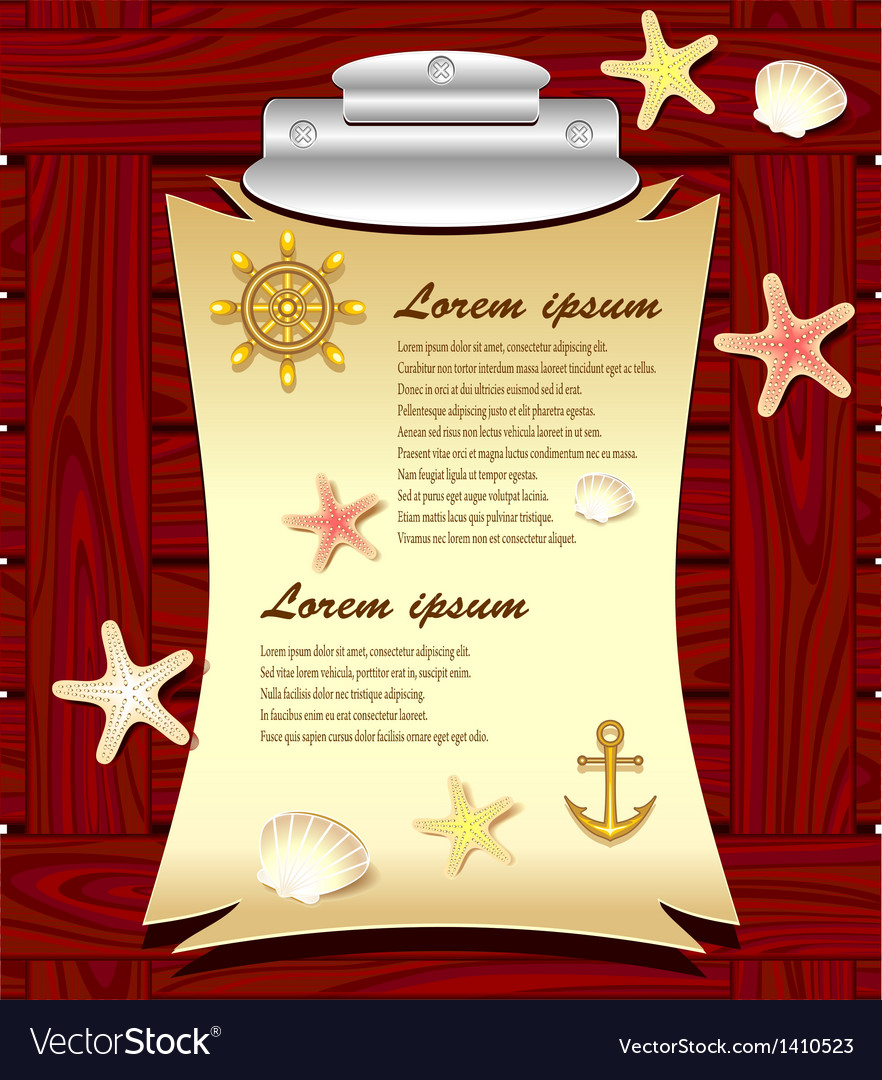 Marine frame with anchor wheel shells starfishes vector | Price: 3 Credit (USD $3)