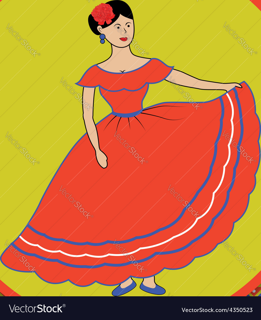 Mexican woman on patterned background vector | Price: 1 Credit (USD $1)