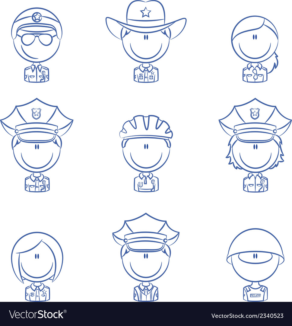 Police avatars vector | Price: 1 Credit (USD $1)