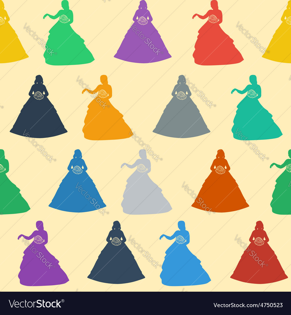 Seamless wedding background colorful silhouettes vector | Price: 1 Credit (USD $1)