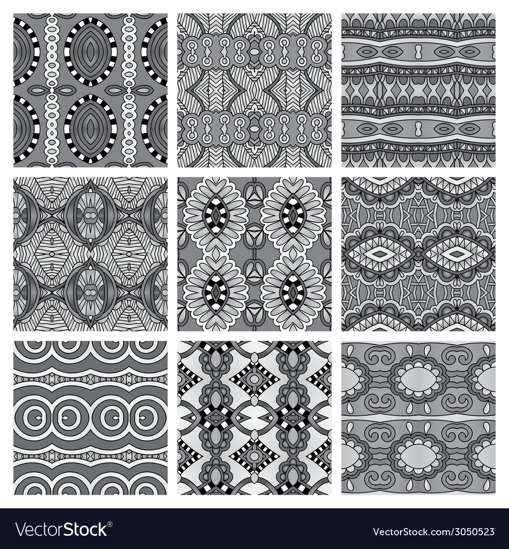 Set of grey different seamless vintage geometric vector   Price: 1 Credit (USD $1)