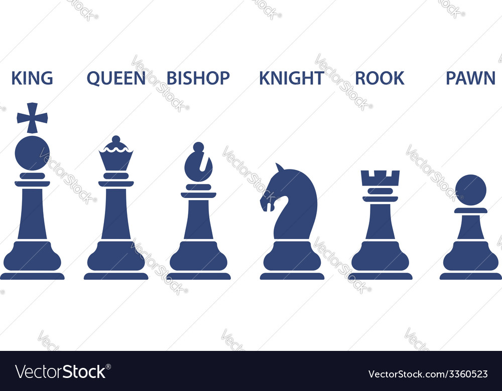 Set of named chess piece icons vector   Price: 1 Credit (USD $1)