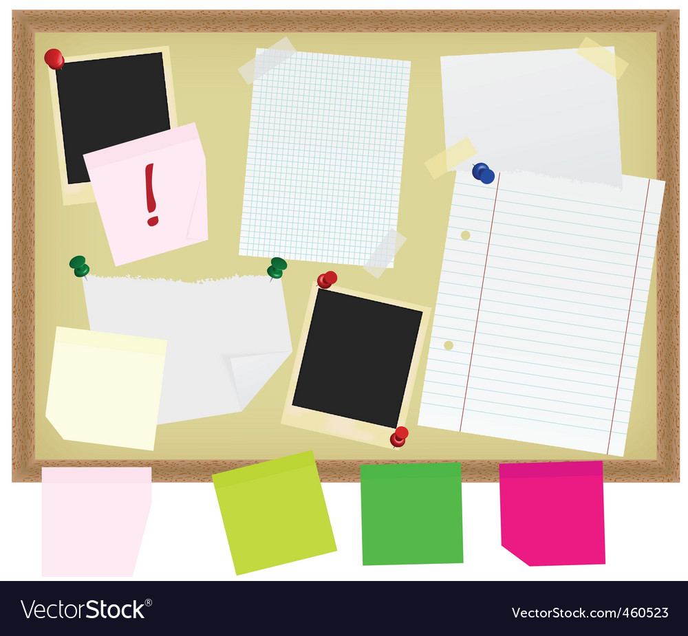 Stationery on noticeboard vector | Price: 1 Credit (USD $1)