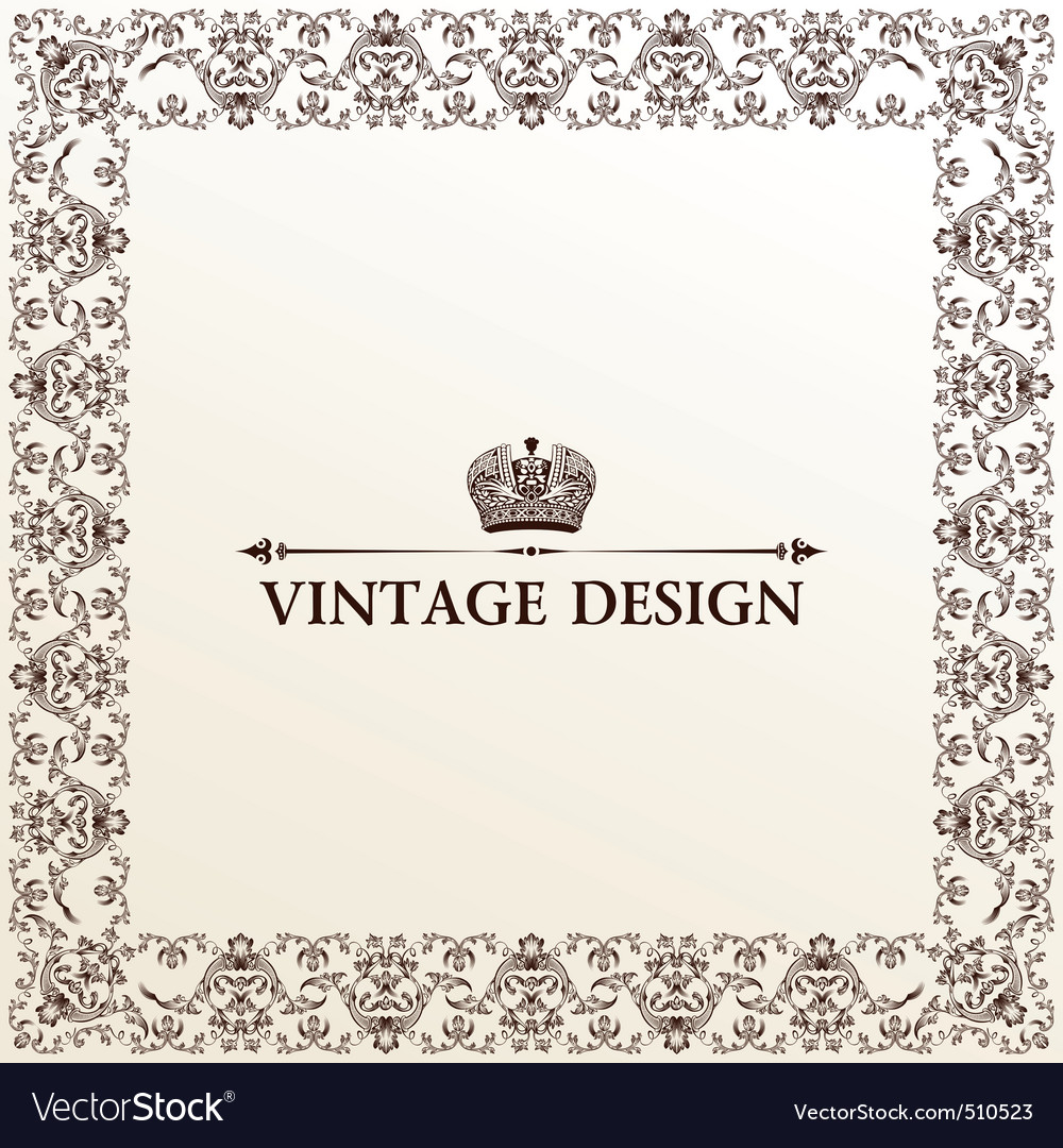 vintage royal retro frame ornament vector | Price: 1 Credit (USD $1)