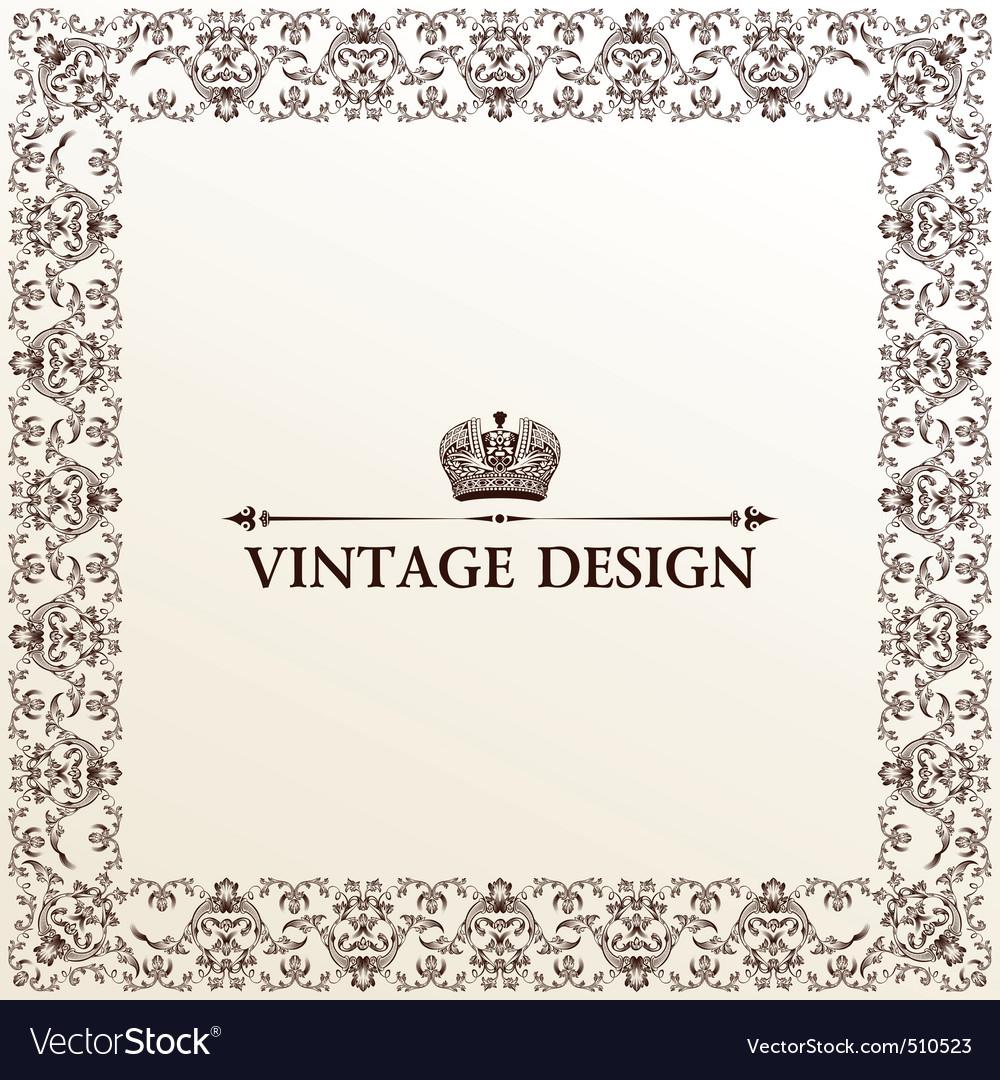 vintage royal retro frame ornament vector | Price: 1 Credit (USD $1)
