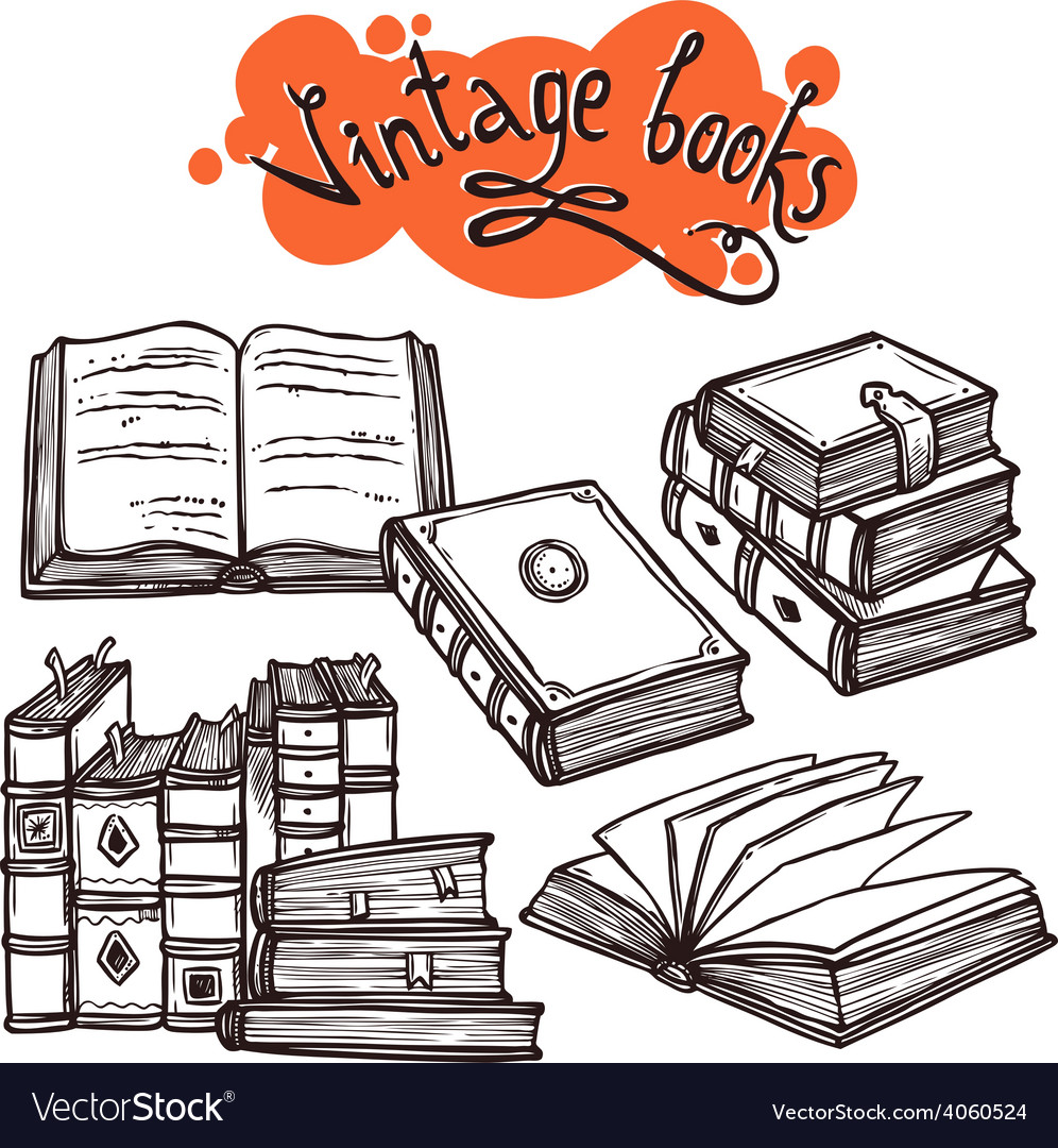 Books set black and white vector | Price: 1 Credit (USD $1)