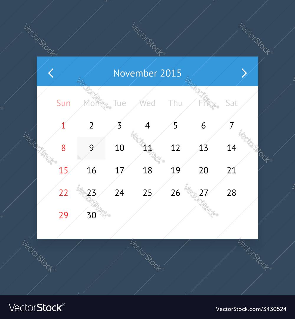 Calendar page for november 2015 vector   Price: 1 Credit (USD $1)
