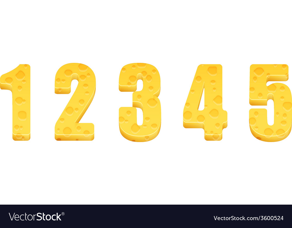 Cheese alphabet set numbers 1-5 vector | Price: 1 Credit (USD $1)